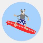 Persona que practica surf australiana del perro de pegatina redonda