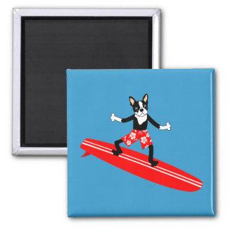 Persona que practica surf de Boston Terrier Longbo Imán Cuadrado
