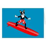 Persona que practica surf de Boston Terrier Longbo Felicitacion
