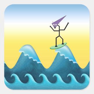 Persona que practica surf de Joe Pegatina Cuadradas Personalizada