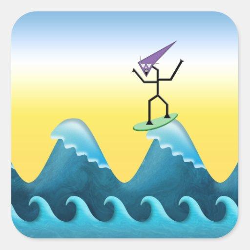 Persona que practica surf de Joe Pegatina Cuadrada