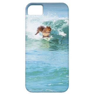 Persona que practica surf de la ardilla en el mar iPhone 5 carcasas