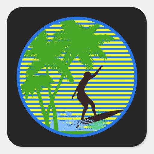Persona que practica surf de la isla pegatina cuadrada