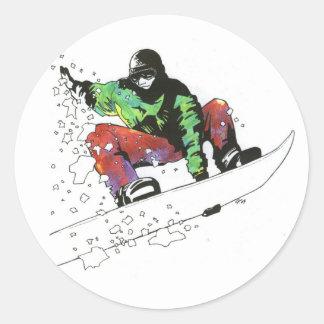 Persona que practica surf de la nieve pegatina