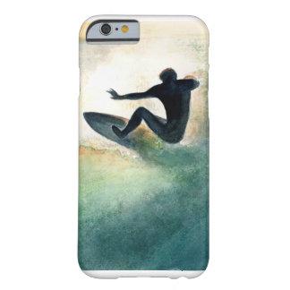 Persona que practica surf de la puesta del sol funda para iPhone 6 barely there