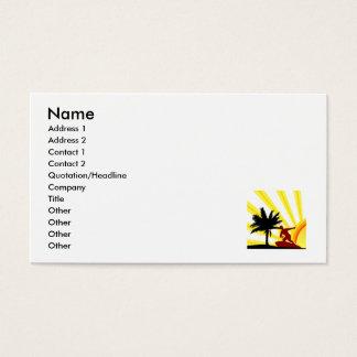 Persona que practica surf de la puesta del sol tarjetas de visita