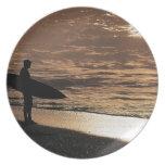 Persona que practica surf de la salida del sol platos para fiestas