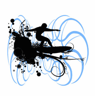 Persona que practica surf de la silueta escultura fotográfica