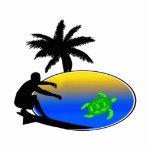 Persona que practica surf de la tortuga de mar escultura fotográfica