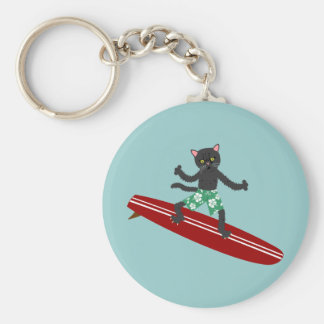 Persona que practica surf de Longboard del gato ne Llaveros