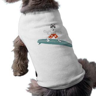 Persona que practica surf de Longboard del husky s Playera Sin Mangas Para Perro