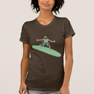 Persona que practica surf de Longboard del perro Camisetas