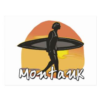 Persona que practica surf de Montauk Tarjeta Postal