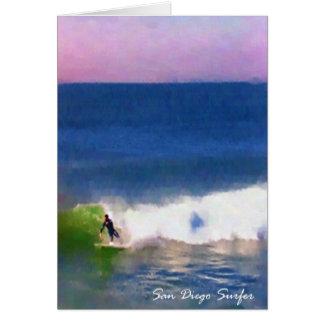 Persona que practica surf de San Diego Tarjeta De Felicitación