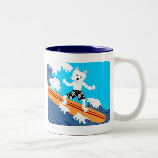 Persona que practica surf de Terrier blanco de Taza De Dos Tonos