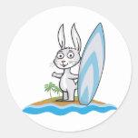 Persona que practica surf del conejito pegatinas redondas