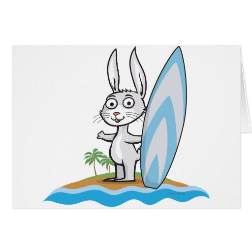 Persona que practica surf del conejito tarjeta de felicitación