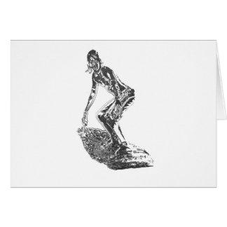 Persona que practica surf del cromo tarjeta de felicitación