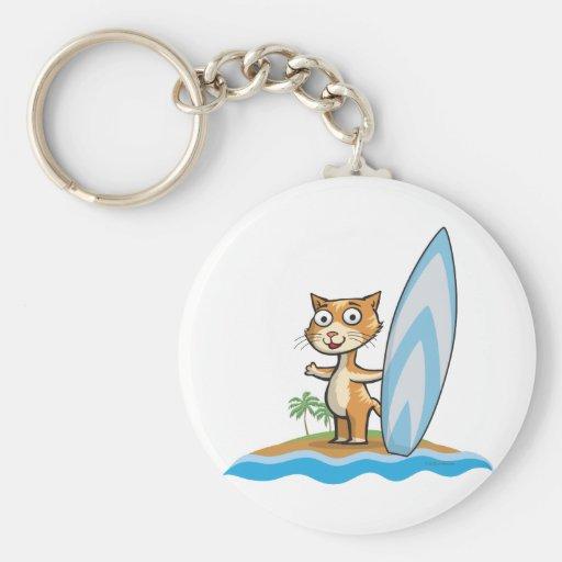 Persona que practica surf del gato llavero redondo tipo pin