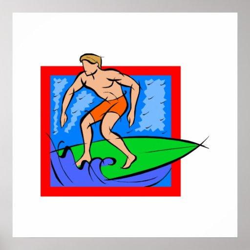 Persona que practica surf del individuo póster