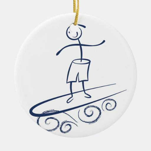 Persona que practica surf del palillo adorno redondo de cerámica