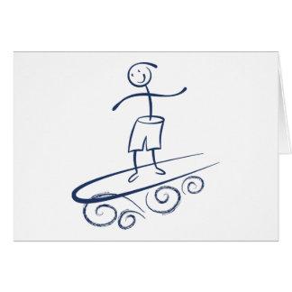 Persona que practica surf del palillo felicitación