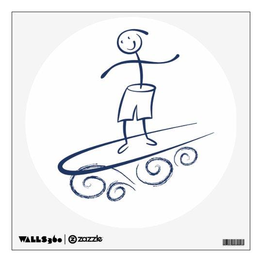 Persona que practica surf del palillo vinilo adhesivo