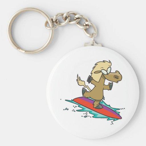 persona que practica surf divertida linda tonta de llavero personalizado