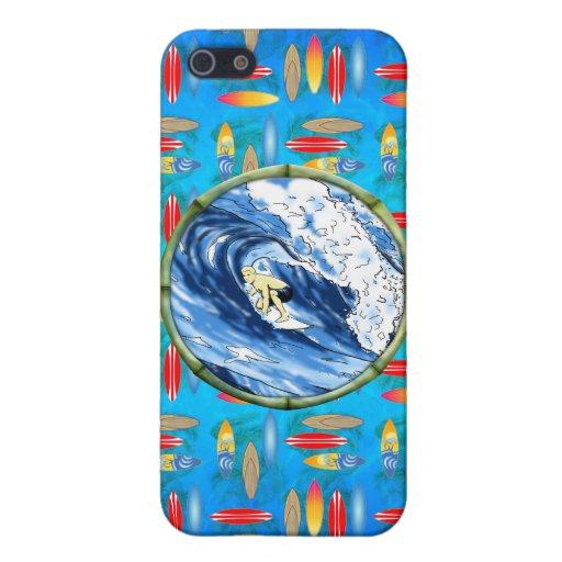 Persona que practica surf en el círculo de bambú iPhone 5 fundas