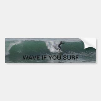 Persona que practica surf en la playa del Moonston Pegatina Para Auto