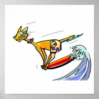 Persona que practica surf fresca del gato posters