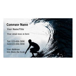 Persona que practica surf grande de la onda plantillas de tarjetas de visita