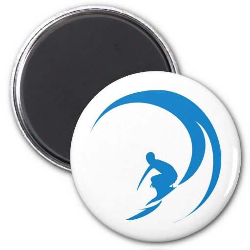 Persona que practica surf imán redondo 5 cm