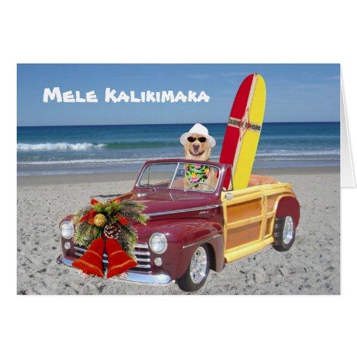 Persona que practica surf/navidad hawaiano felicitación