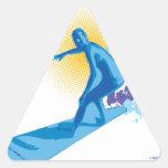 Persona que practica surf calcomanía triangulo personalizadas