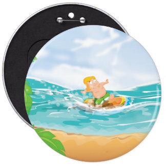 Persona que practica surf chapa redonda 15 cm
