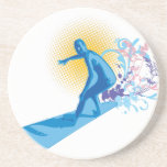 Persona que practica surf posavasos diseño