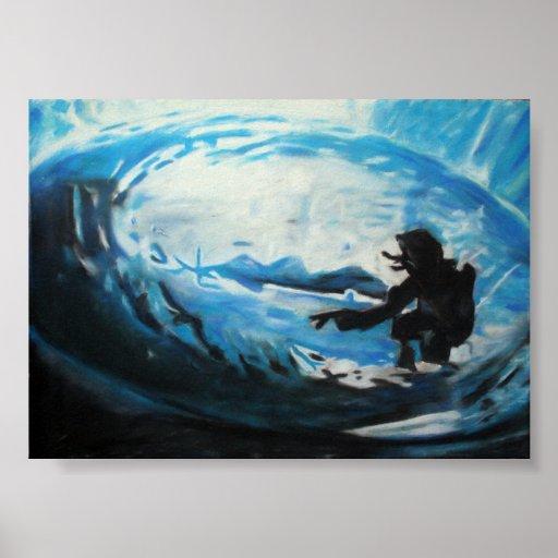 persona que practica surf póster