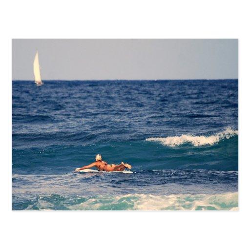 Persona que practica surf que bate hacia fuera la tarjetas postales