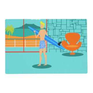 Persona que practica surf retra Placemat laminado Tapete Individual