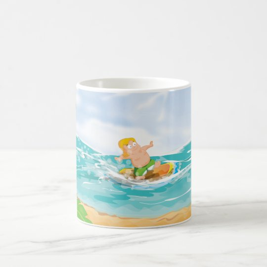 Persona que practica surf taza de café