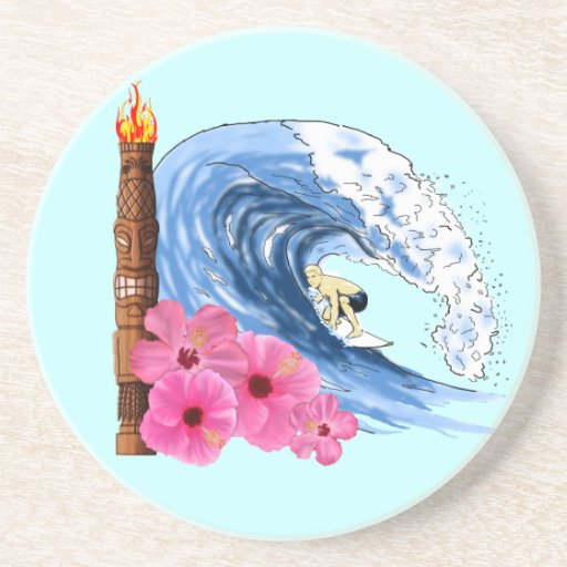 Persona que practica surf y estatua de Tiki Posavasos Para Bebidas