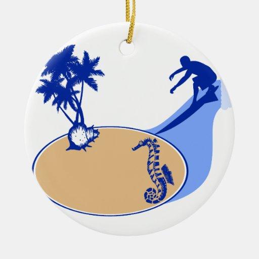 Persona que practica surf y Seahorse adaptables Ornamentos De Reyes