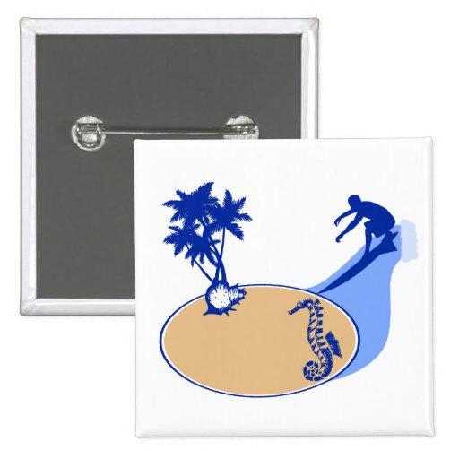 Persona que practica surf y Seahorse adaptables Pin Cuadrado