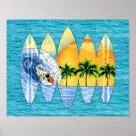 Persona que practica surf y tablas hawaianas impresiones