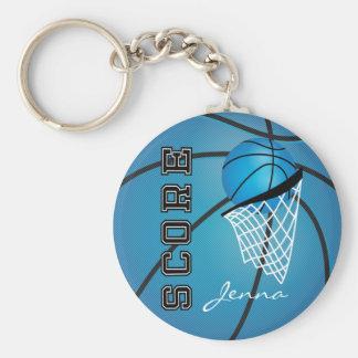 Personailize Blue Basketball Basic Round Button Keychain