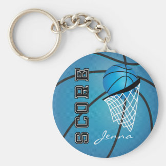 Personailize Blue Basketball Keychain