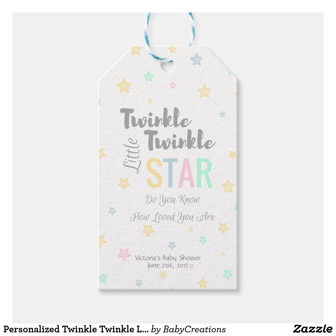 Personaized Twinkle Twinkle Little Star - Tags