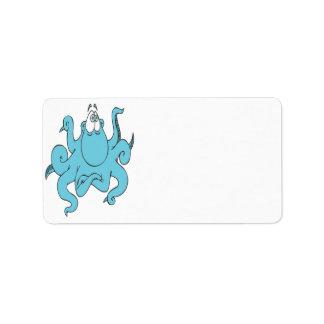 personaje de dibujos animados azul fresco del pulp etiquetas de dirección