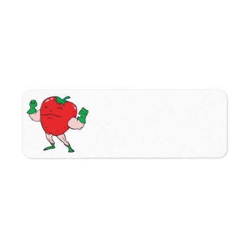 personaje de dibujos animados de la fresa del supe etiquetas de remite